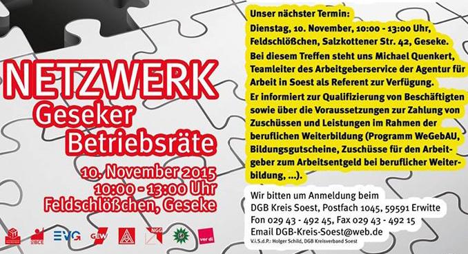 Netzwerk Geseker Betriebsräte Trifft Sich